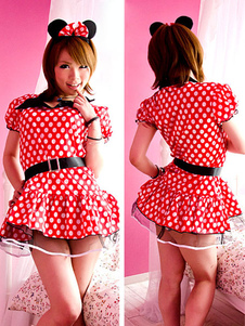 halloween-red-mickey-mouse-sash-polka-dot-polyester-dress-for-women