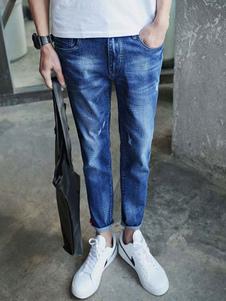 Blue Skinny Denim Ninth Jeans for Men