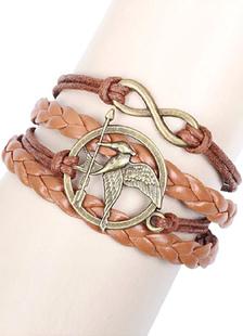Image of Brown in rilievo maglia bracciale di cuoio del Faux per gli uomini