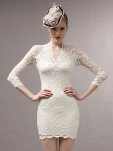 Image of Deep-V semi-velato Spandex breve vestito bianco per le donne
