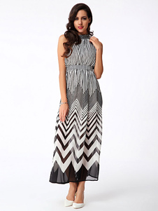 Multicolor Print Halter Zigzag Print Maxi Dress
