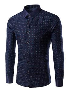 Camicia blu marino scuro Polka Dot Shaping camicia Casual cotone per gli uomini