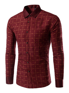 Image of Borgogna camicia Plaid Shaping camicia Casual in cotone per uomo