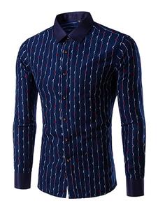 Marina militare camicia cotone stampa Chic camicia Casual per gli uomini
