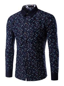 Camicia multicolor stampa Trendy modellare cotone camicia Casual per gli uomini