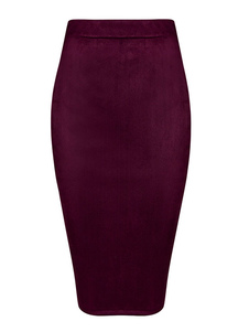 Burgundy Clubwear Skirt Zipper Wrapped Rayon Skirt