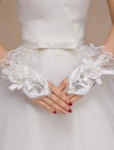 Image of Avorio Wedding Mitten fiocco strass pizzo guanti sintetici
