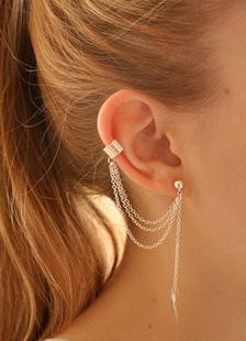 Image of Orecchini in argento foglia forma catena orecchini di metallo per le donne