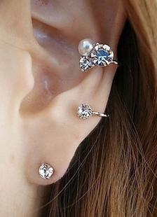 Image of Orecchini in argento strass perla orecchini di metallo per le donne