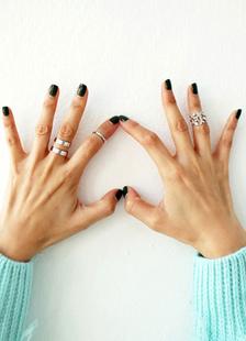 Image of Knuckle argento anelli anelli di metallo foglia modello per le donne