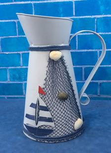 white-wedding-centerpieces-ship-pattern-metal-flower-bucket