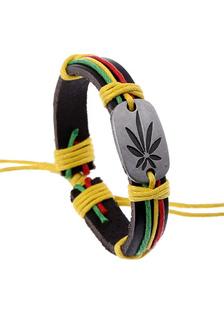 Image of Multicolor ecopelle foglia del braccialetto per gli uomini