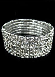 Image of Bracciale in argento strass elegante bracciale in metallo per le donne