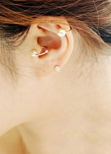 Image of Orecchino per orecchini in metallo con perle bianche per donna