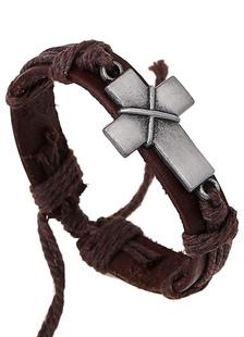 Image of Bracciale Croce Bracciale di cuoio del Faux per gli uomini