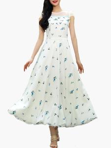 Stampa Organza bianco Maxi Dress in Chiffon