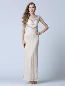 Champagne Prom robe Backless Split gaine Tulle robe de soirée strass