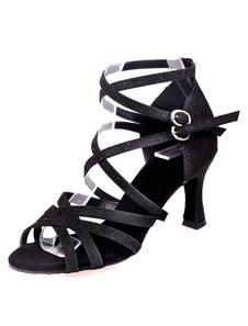 Danses latines noir sandales sangles Glitter talons pour femmes