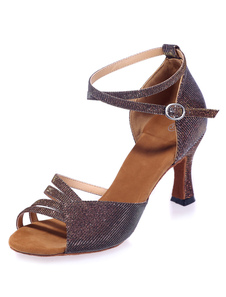 Image of Brown Latin Dance Sandals Cut-Out Glitter Heels for Women
