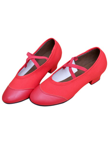 Danza Jazz rojo zapatos lona Criss Cross correas zapatos para mujeres