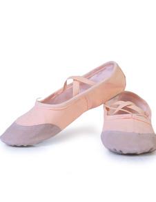 Rosa Ballet Danza zapatos correas lona pisos para mujeres