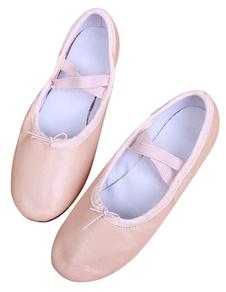 Zapatos de baile de mujer Pigskin Pink Round Toe Strap Zapatos de baile de ballet Mujeres Jazz Dance Shoes