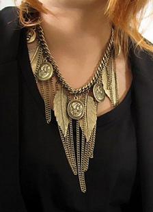 Bronce franja hoja patrón Metal collar para mujer