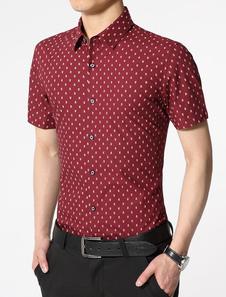 red-shirt-polka-dot-print-slim-fit-cotton-shirt-for-men