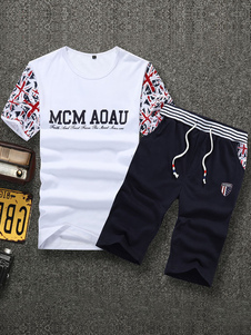 white-cycling-jerseys-print-cotton-sports-suit-for-men