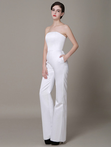white-satin-wedding-suits-strapless-high-waist-red-carpet-dress