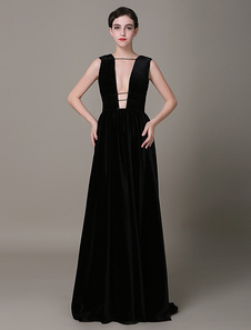 velvet-black-evening-dress-sheath-plunging-red-carpet-dress