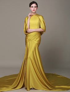 golden-satin-evening-dress-high-split-chaple-train-red-carpet-dress-with-cap