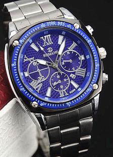 Aleación de reloj azul ronda forma reloj para hombres