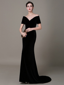 black-velvet-evening-dress-mermaid-vintage-lady-gaga-red-carpet-dress