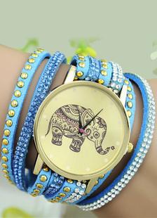 Image of Multicolor bohemien elefante a strati di stampa Stud lega Chic dell'orologio per le donne