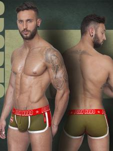 Letras de calzoncillos verde impresión Slim Fit algodón calzoncillos para hombres
