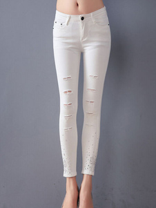white-jeans-distressed-high-rise-spandex-jeans-for-women