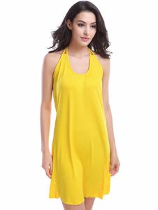 Image of Vestito giallo Halter Backless poliestere Cover Up per le donne