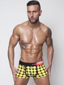 Ropa interior amarilla impresión algodón Fit Slim calzoncillos para hombres