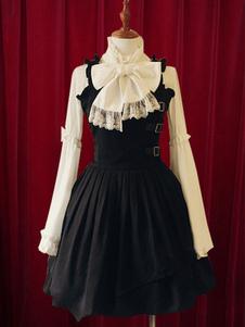Image of Nero Lolita Dress cinghie fibbie cotone abito per le donne