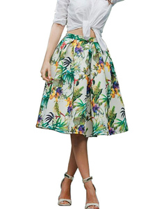 Multicolor Skirt Floral Print Chiffon Chic Skirt