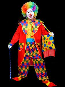 Image of Carnevale Divertente Clown Multicolore Costume Circo Poliestere Costume Cosplay  Carnevale