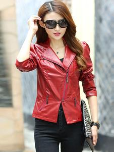 red-jacket-split-zipper-pu-leather-jacket-for-women