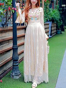 Dentelle robe Maxi abricot volants robe brodée