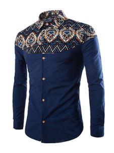 Image of Camicia blu marino con stampa per gli uomini
