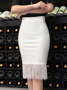 Fringe Skirt Bodycon Spandex Skirt for Women