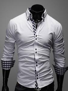 Camiseta blanca algodón ajuste delgado cuadros camisa para los hombres