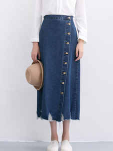 Buttons Denim Skirt Distressed Shift Skirt
