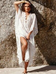 Image of Coperchio bianco Maxi Split semi-velato pizzo Cover Up per le donne