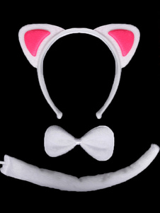 white-cat-cosplay-hairband-bow-tie-tail-synthetic-kitty-children-cosplay-accessories